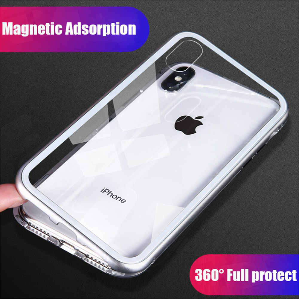 Magneto Magnetic Adsorption bumper case for iphone 7 iphone X case coque metal+magnet+tempered glass cover for iphone 8 7 plus