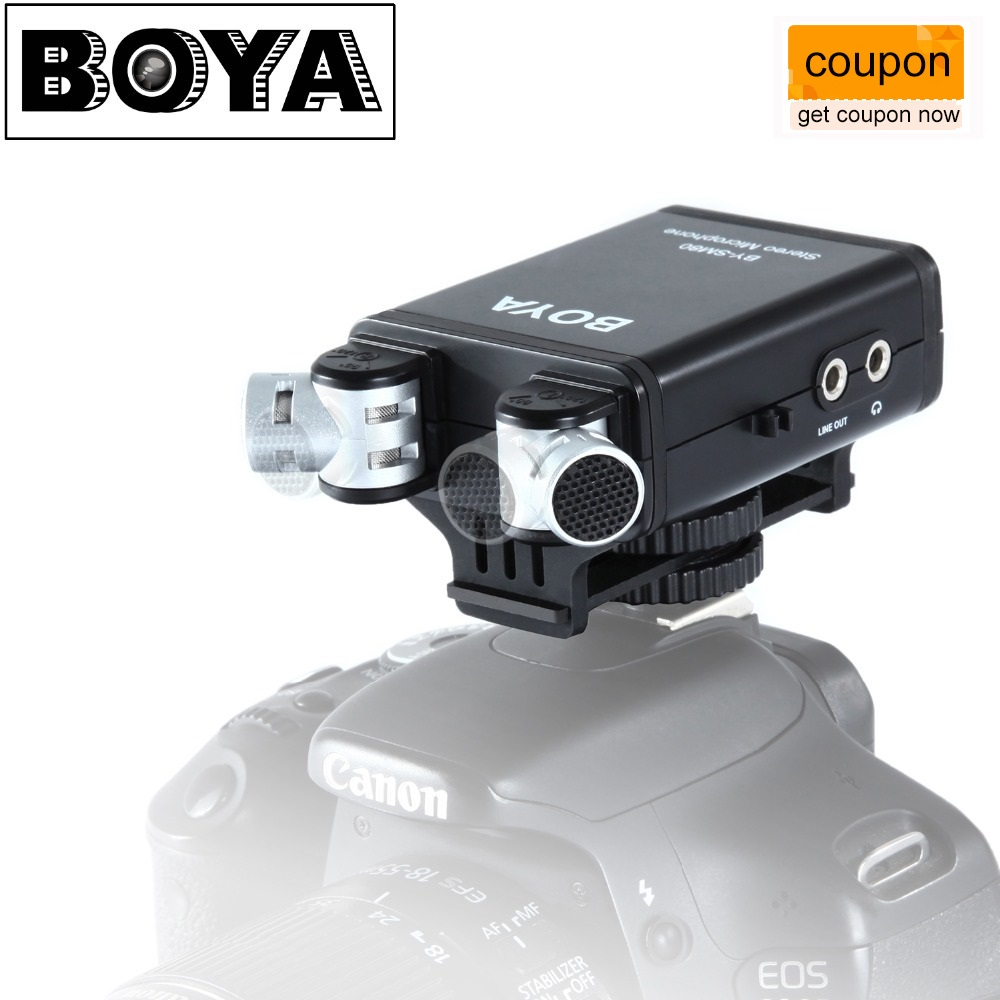 BOYA BY-SM80 PassFilter Stereo Camera Microphone with Real-time Voice Monitor for Canon 5D2 6D 750D Nikon D800 D600 Camcorder boya by sm80 stereo video microphone with windshield for canon for nikon for sony dslr camera microphone camcorder