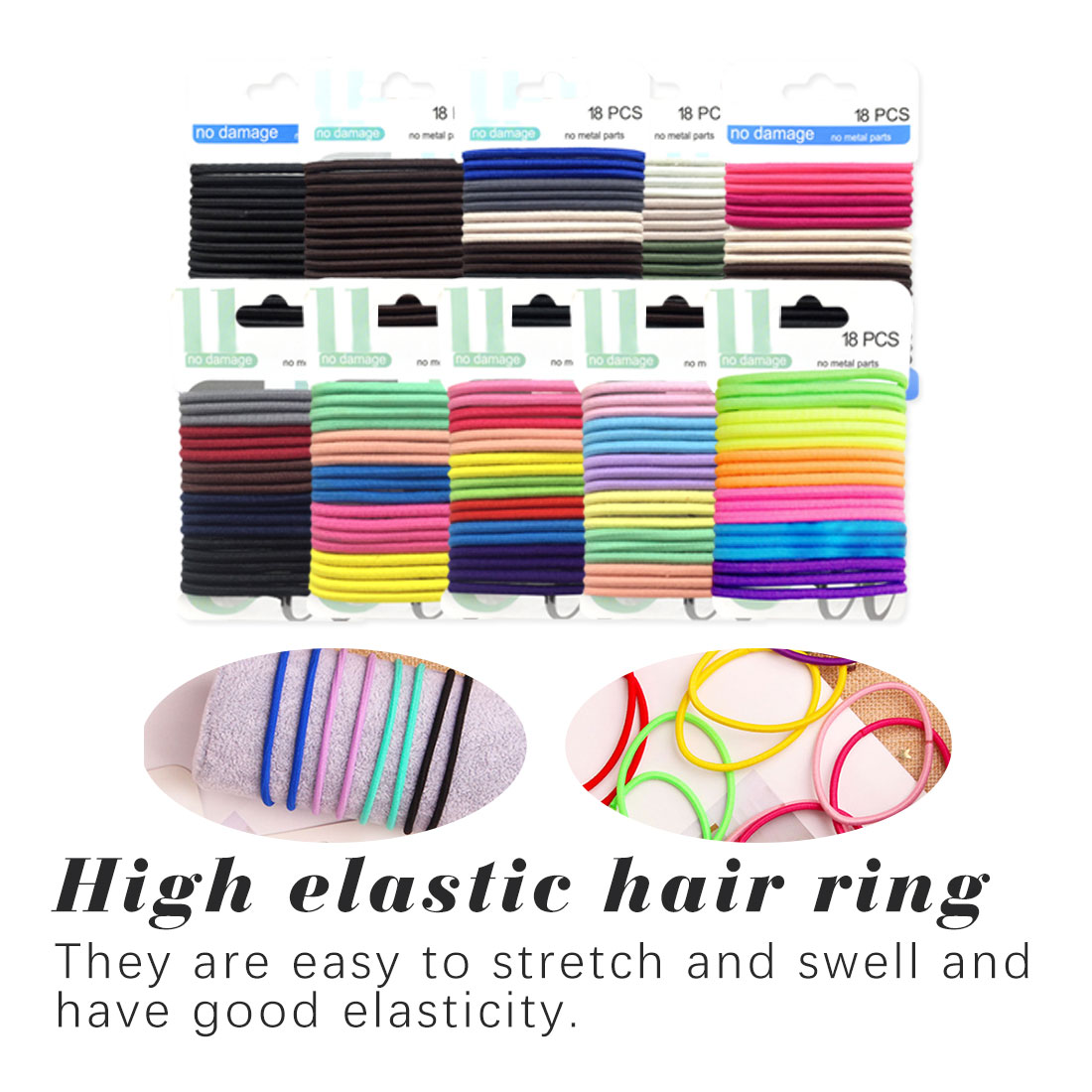4mm Hair band Rope Fashion Elastic Women 18PCS/Set Set Candy Color Tie Accessories Trendy