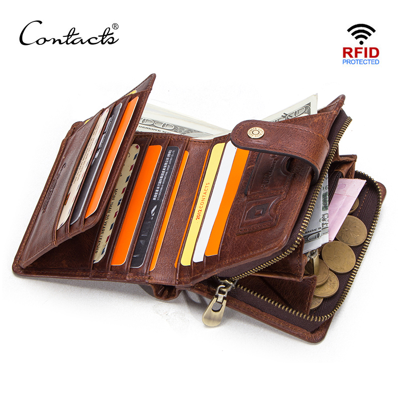CONTACT'S genuine leather RFID vintage wallet men with coin pocket short wallets small zipper walet with card holders man purse(China)