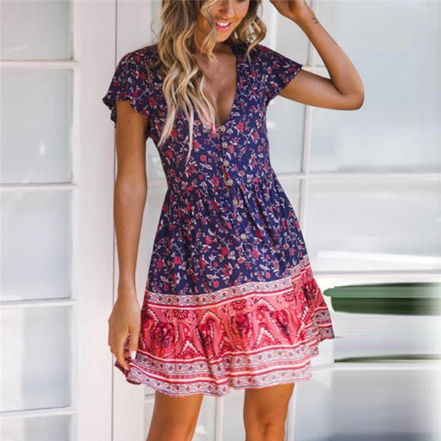 440c84c1dc0de US $10.64 |2019 Latest Spring&Summer Sweety Boho Floral Dress Party Evening  Beach Short Dress Sundress Fashion Photograpy Dress C30 Z180-in Dresses ...