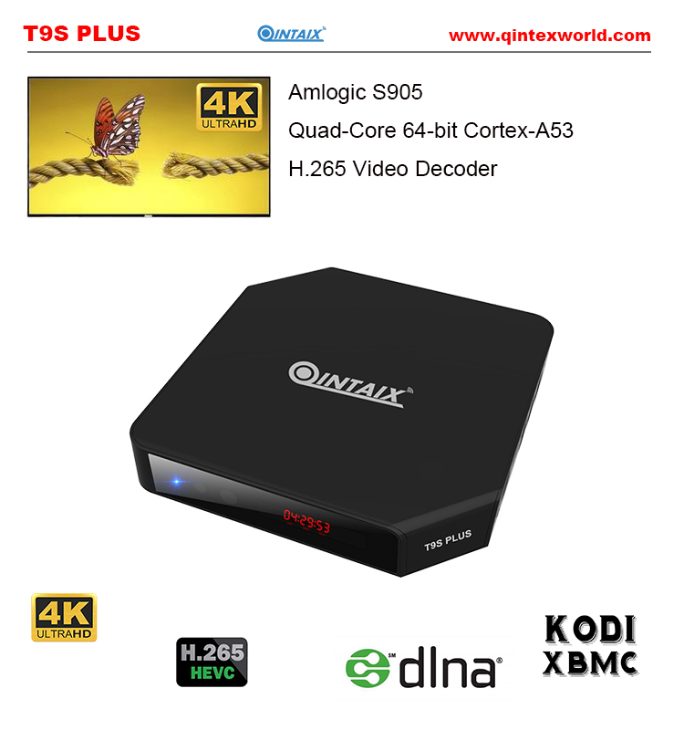 T9S Plus tv box2G/16G Android 5.1 Smart TV CAJA Amlogic S905 Quad Core KODI H.265 Miracast 4 K UHD 3D 2.4G/5G WiFi decodificador amlogic s812 hot sell android tv box quad core wifi smart tv box with xbmc kodi fully loaded m8s plus android 5 1 google box