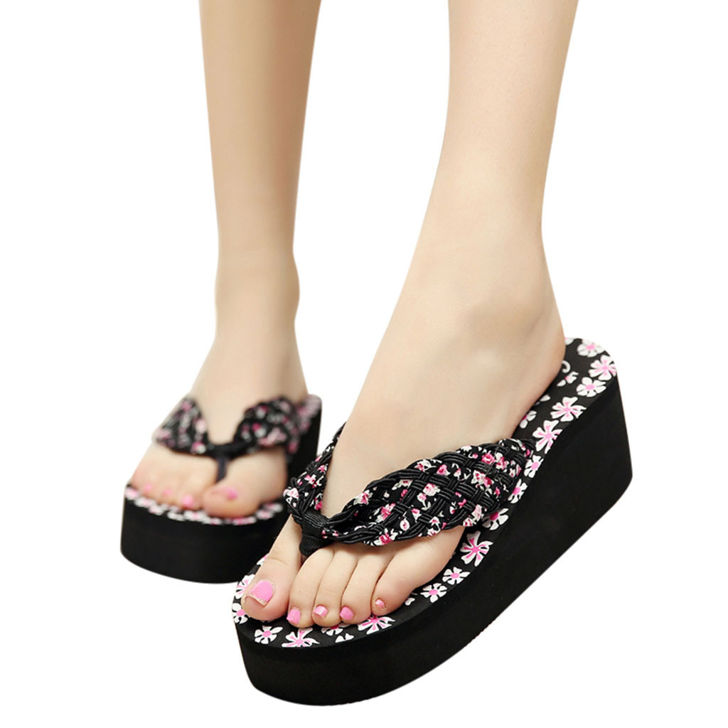 Young Girls Women Bohemia Floral Beach Sandals Wedge Platform Thongs Slippers Flip Flops The spot  mujer 10HYoung Girls Women Bohemia Floral Beach Sandals Wedge Platform Thongs Slippers Flip Flops The spot  mujer 10H