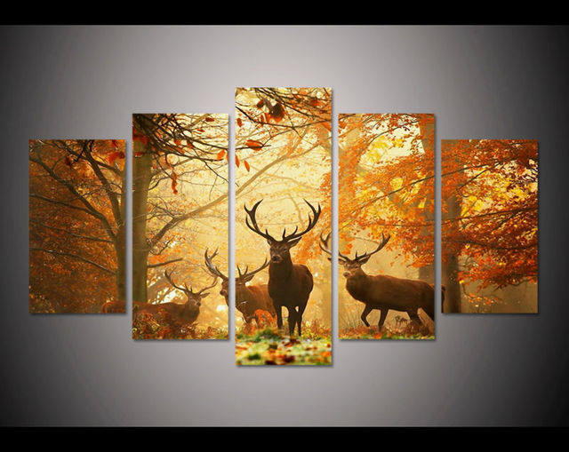 New 5 Pieces/sets Canvas Art HD 5 PANELS Beautiful Deers Canvas ...