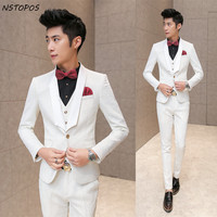 White Wedding Tuxedos For Men 2016 Brand Pressing Rose Print Elegant Vintage Suits Men Slim Fit