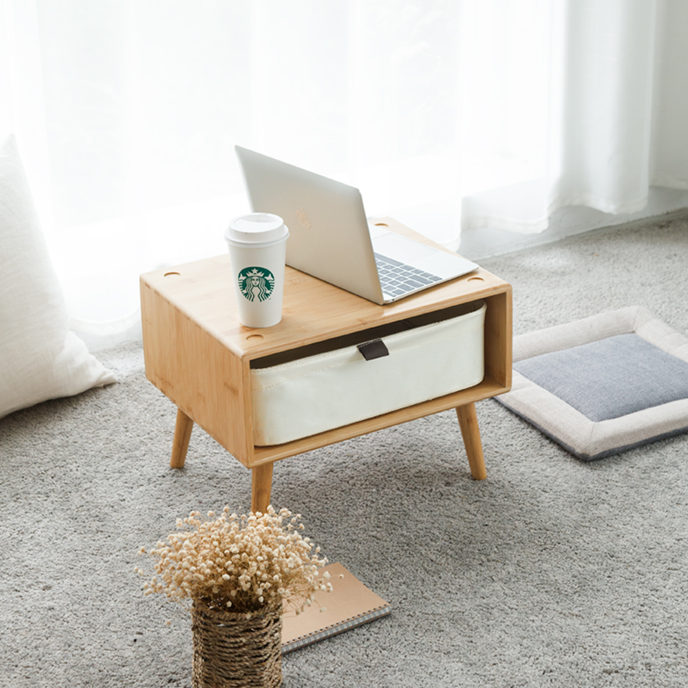 US $149.39 25% OFF|ZEN\'S BAMBOO BedSide Table Nightstand with 2 Drawers Bay  Window Small Table Bedroom Furniture-in Nightstands from Furniture on ...