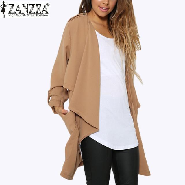 Zanzea outono 2016 moda feminina jaqueta de manga comprida fina casaco sólida longo Cardigan Casual solto Tops Femininas Plus Size