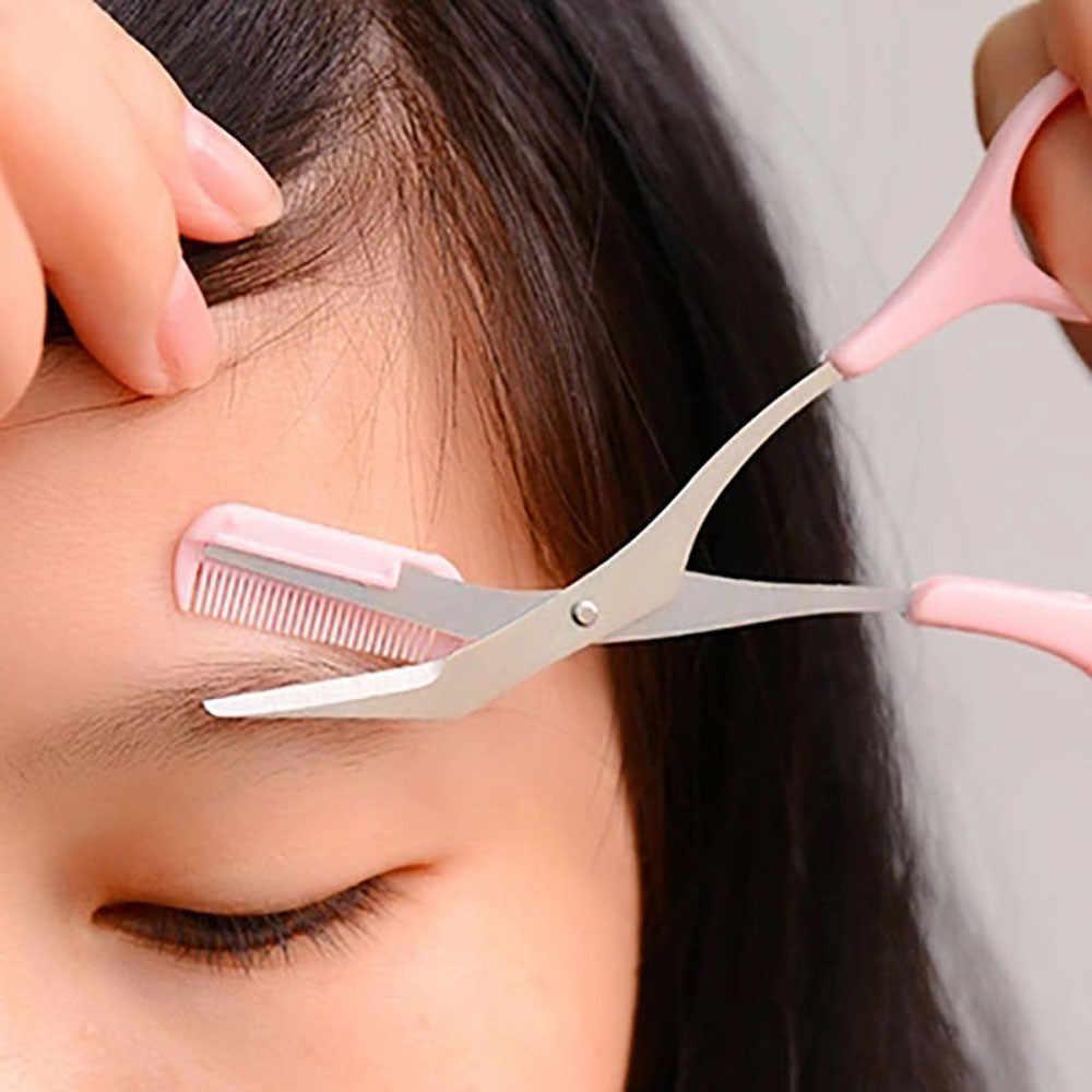 ขนตากรรไกรหวีสีชมพู Eyebrow Trimmer Eyelash คลิปผมกรรไกร Shaping Eyebrow Grooming เครื่องมือเครื่องสำอาง 2019 Jan11