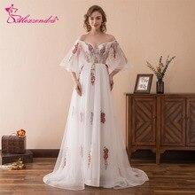 Alexzendra Stock Dress Tulle De L'épaule Une Ligne Longues Robes De Bal Avec Manches Imprimé Fleurs Robes De Soirée Robes De Fête