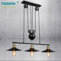 Vintage Iron Loft Industrial American Country Pulley Pendant Lights Adjustable Wire Lamps Retractable Bar Lighting