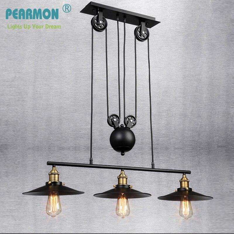 Vintage Iron Loft Industrial American Style Pulley Pendant Light Adjustable Wire Lamp Retractable Bar light Edision
