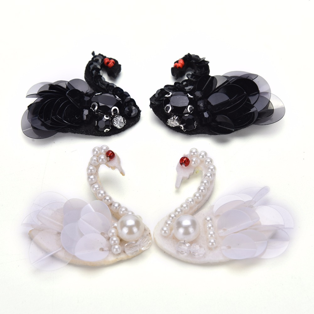 Luggage & Bags Dynamic 1 Pair Black White Sequins Beading Swan For Diy Bag Parts Accessories 2colors Reliable Performance