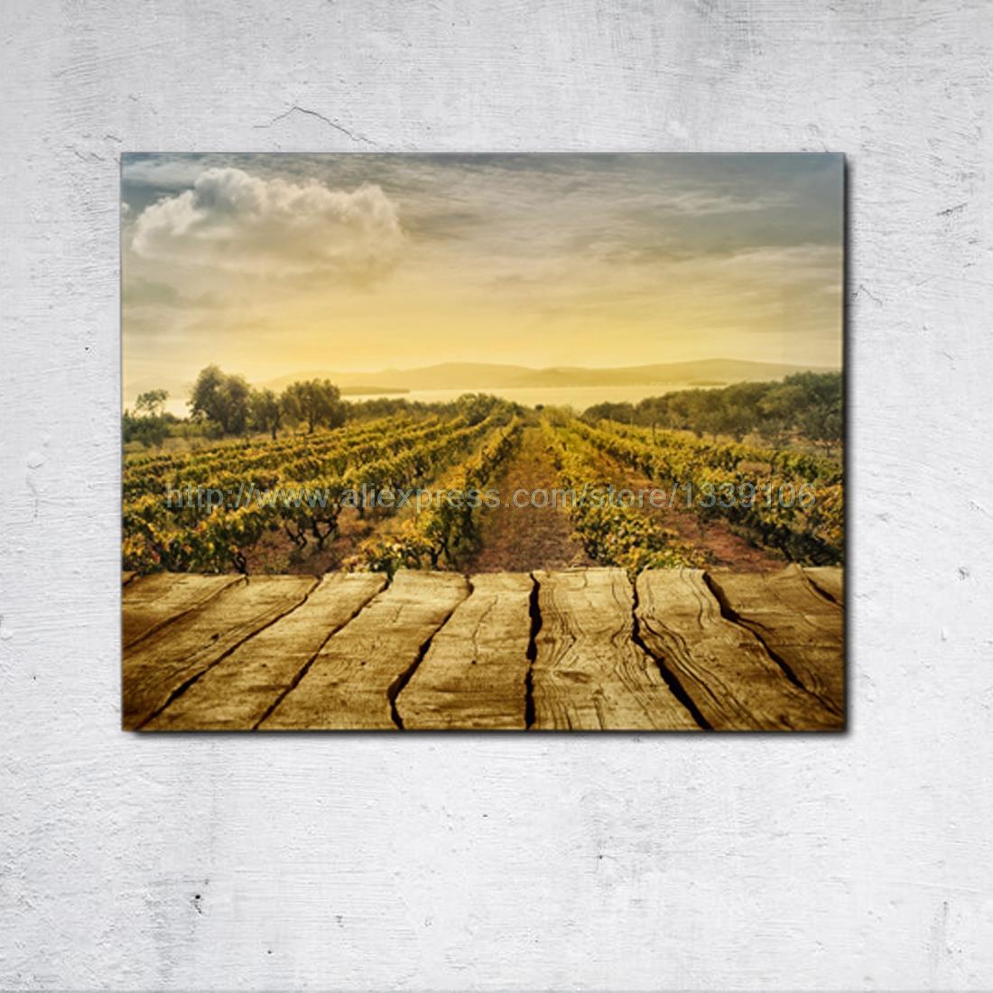 unframed 1 stuk zonsondergang landbouwgrond print custom canvas schilderij voor slaapkamer decoratieve 1 vliegtuig muur pictures