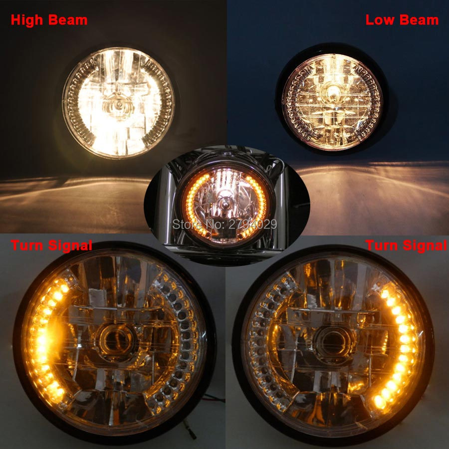Home Motorcycle Custom Amber Led Turn Signal Lamp Hi/low Halogen Headlight Fits For Cg125 Gn125 Cg200 Cafe Racer Bobber For Improving Blood Circulation