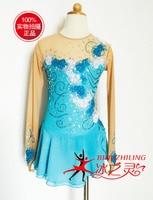 Синий фигурное катание платье Пользовательские Лидер продаж льда платья для катания на коньках женщины конкурс катание платье Кристаллы Б