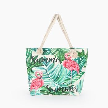Hot Sale Flamingo Printed Casual Bag Women Canvas Beach Bags High Quality Female Single Shoulder Handbags Ladies Tote BB196 1