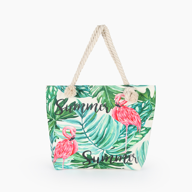 Hot Sale Flamingo Printed Casual Bag Women Canvas Beach Bags High Quality Female Single Shoulder Handbags Ladies Tote BB196