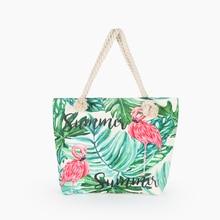 Hot Sale Flamingo Printed Casual Bag Women Canvas Beach Bags High Quality Female Single Shoulder Handbags Ladies Tote BB196
