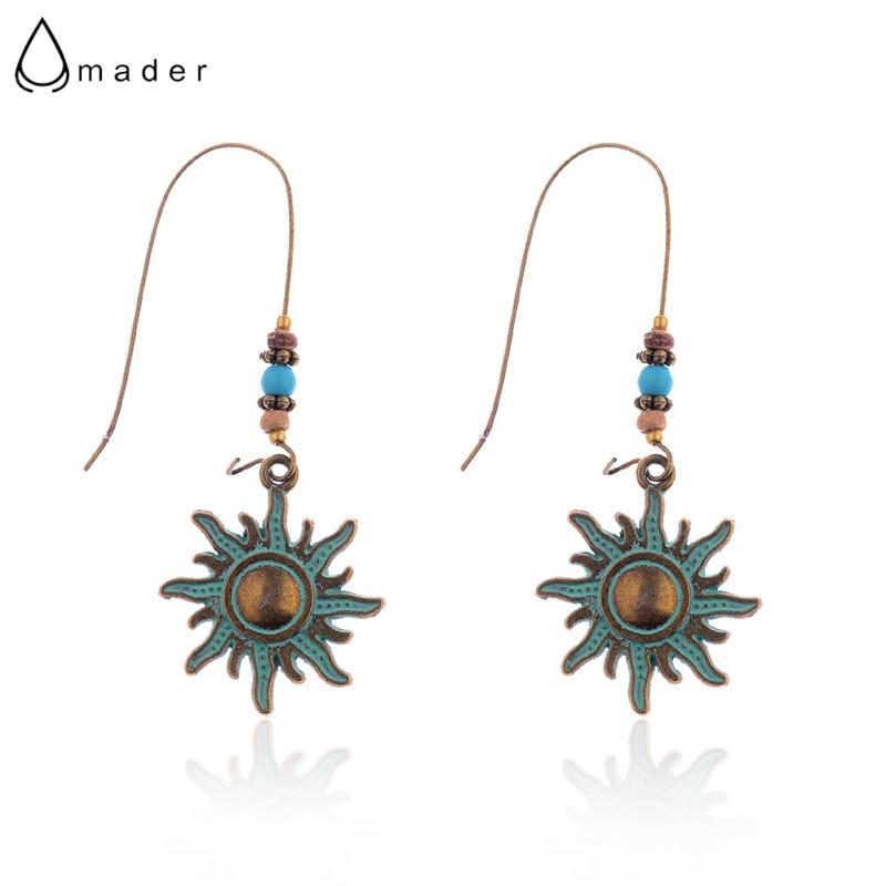 Amader New Design Retro Sun Shape Women's Bronze Drop Earrings Vintage Style Female Verdigris Dangle Earrings HQE752