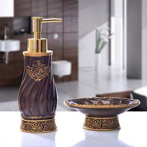 Image 1 - Bathroom Set piece European creative hand sanitizer bottle resin soap box suite bathroom to wash single items Decoration