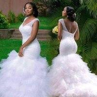 2020 New African Full Beading Sexy Illusion Mermaid Ruffle Wedding Dress Bride Bridal Custom Made Wedding Gowns