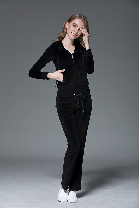 Juicy Lovers Brand Spring Women Sporting Suits Black Pink Purple Solid Slim pleuche Womens Casual Tracksuits
