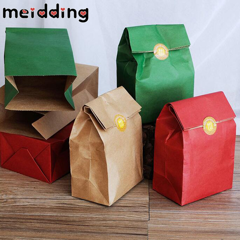 MEIDDING 10pcs/lot Kraft Paper Gift Bags Wedding Candy Packaging Recyclable Jewelry Food Bread Shopping Party Bags 9 Colors