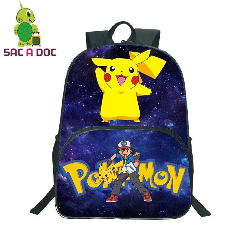 16 Inch Pokemon School Bags Pikachu Charizard Backpack Bags For Teenage Girls Boys Mochila Travel Backpack Laptop Bolsa Escolar
