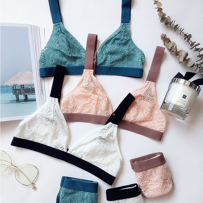 CINOON French Ultrathin   Bra     Brief     Set   Deep V Female Victoria Lingerie Woman Intimates Patchwork Lace Sexy   Bras     Set   Underwear