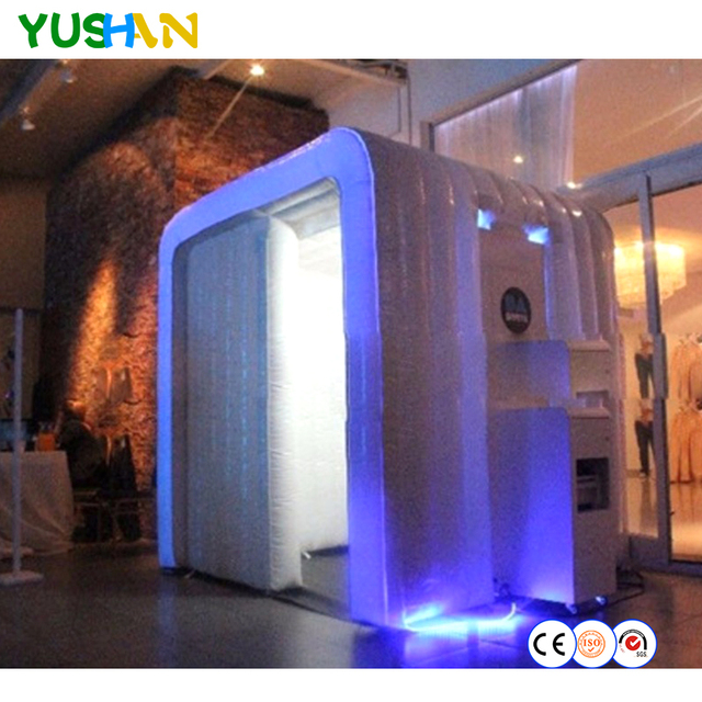 Popular sale LED strip on top inflatable photo booth case Portable Photo Booth  Backdrops Customized wedding party Photo Booth