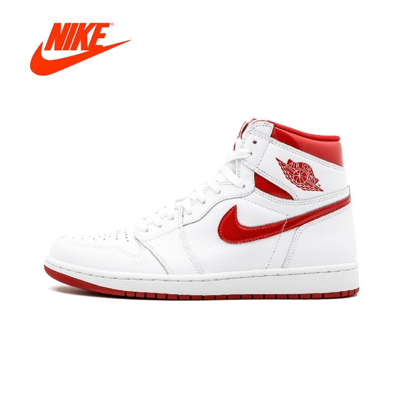Original Authentique Nike Air Jordan 1 Retro Haute OG AJ1 hommes Basket-Ball Chaussures de Sport Baskets En Plein Air Marque Designer 555088 -103
