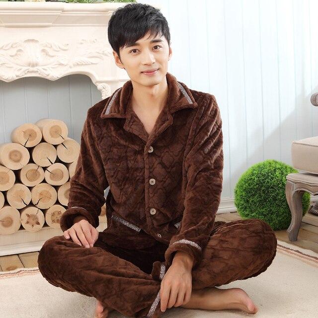 Winter Thickening Pajamas Flannel Fever Sleepwear Cardigan Mens pyjamas Plus size 4XL Pajama Sets