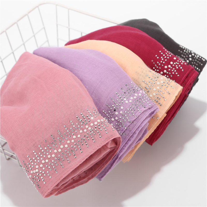 2019 New Design Luxury Women   Scarf   Pearl Scarfs Rhinestone Cotton Hijab Shawls   Wrap   Solid Color Muslim Hijab   Scarf