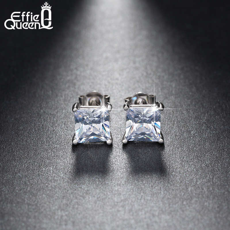 Effie Queen Brilliant Princess Cut Zircon Women Stud Earrings 6 Color Choices Classic Silver Earrings Party Jewelry DE148