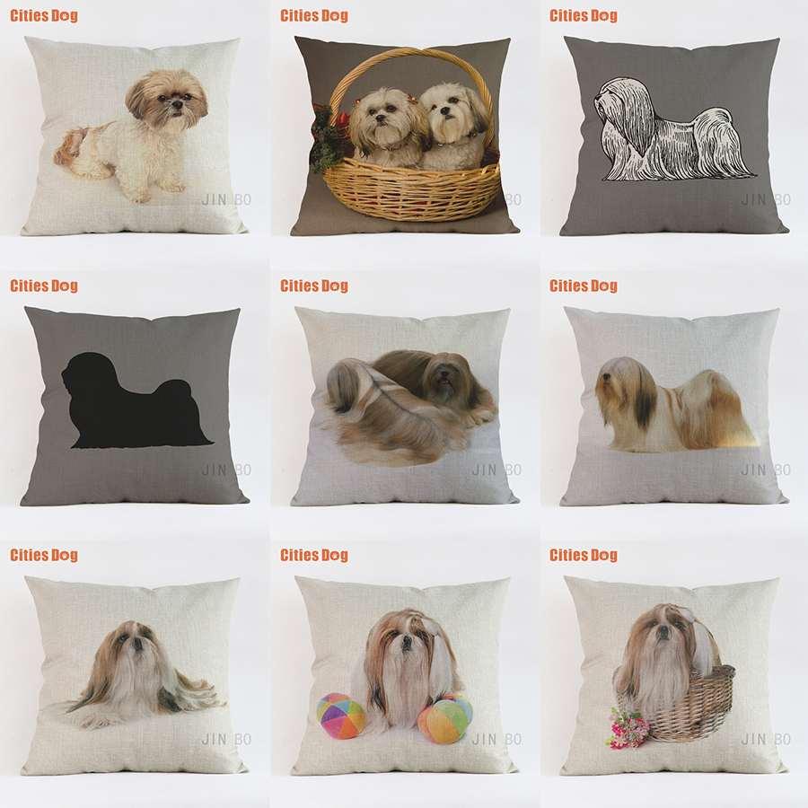 pillows cushion sofa cover Lhasa Apso dog decorative 2018 new Year Valentines Day gift dogs pillowcases almofada cojines