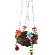 1Pcs Parrot Bird toy Rattan Nest Bite Swing Stand Hanging Basket gnawing station Handicraft toys cage Accessories