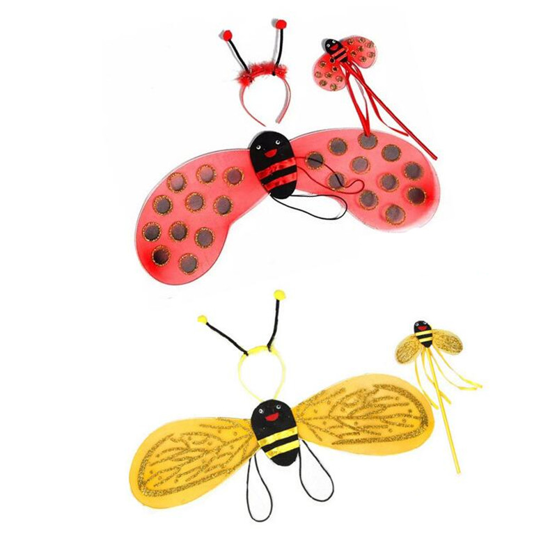 Children Girls Princess Bee Ladybug Wings Headband Magic Fairy Wand Cosplay Props  Birthday Party Gift  Halloween