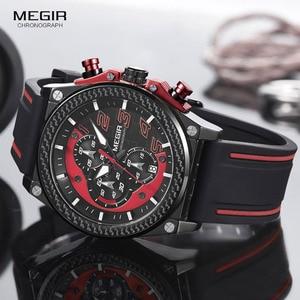 Image 3 - Megir montre bracelet, chronographe pour hommes, lumineuse, étanche, avec bracelet en caoutchouc, pour garçons et garçons 2051G 1N8