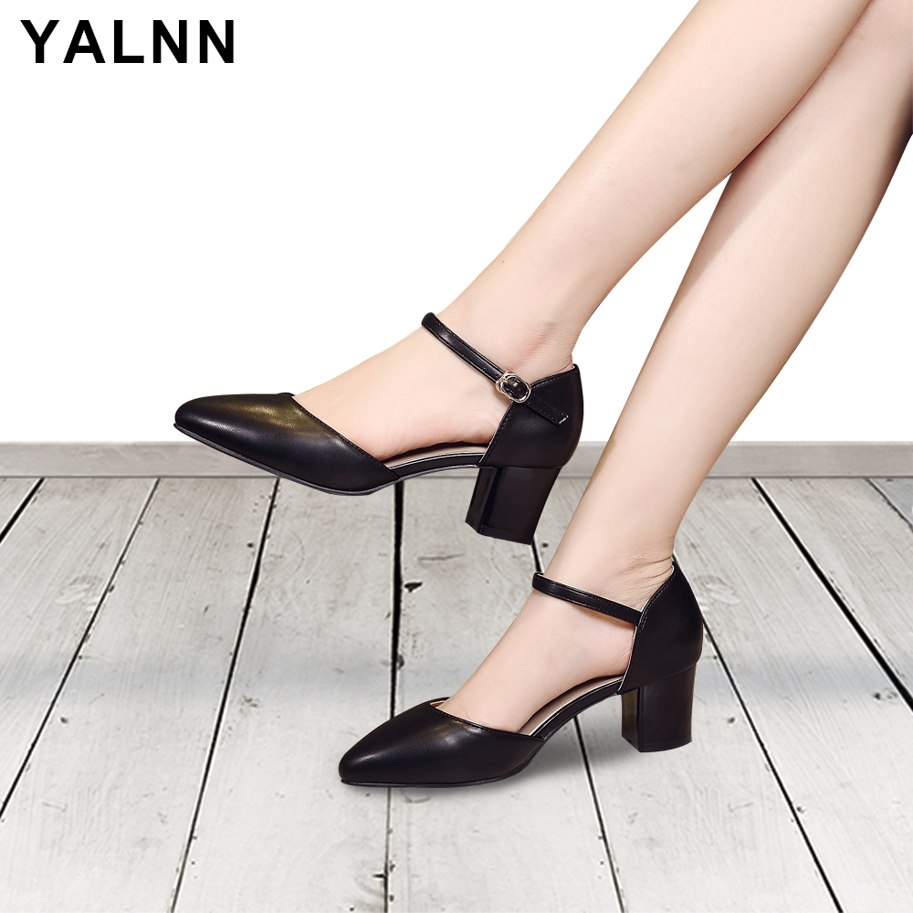 YALNN Basic Wedding Women Buckle Sandals Med Heels Summer Leather White and Black Women Summer Cover Heel Solid Lace up Sandals