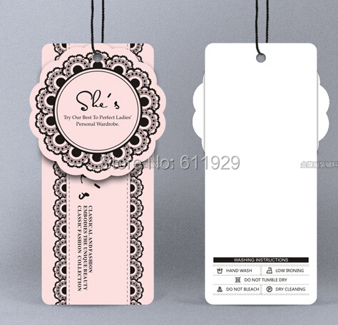 Customized Clothing Hang Tag Garment Paper Tags Cardboard Wedding Dress