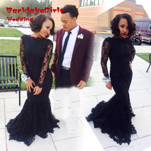 2017 Custom Made Boat Neck Long Sleeve Mermaid Prom Dresses Sexy Long Black Lace Evening Gown