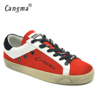 CANGMA Original Brand Lady Casual Shoes Red Cow Suede Sneakers For Girls Flats Fashion Breathable Footwear Woman Shoes Big Size