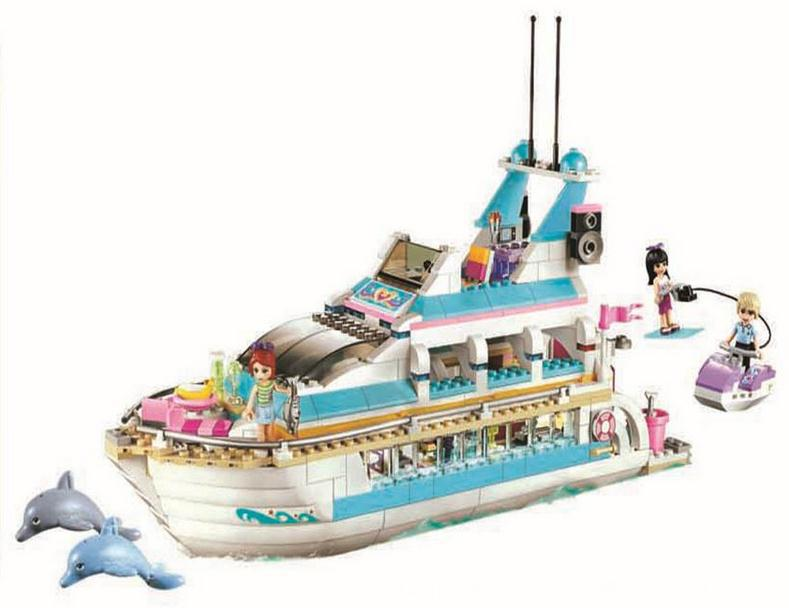 ФОТО AIBOULLY 10172 Friends Series Girls Large cruise ships Model minis Building Blocks girl Summer baby toys Gift compatibl41015