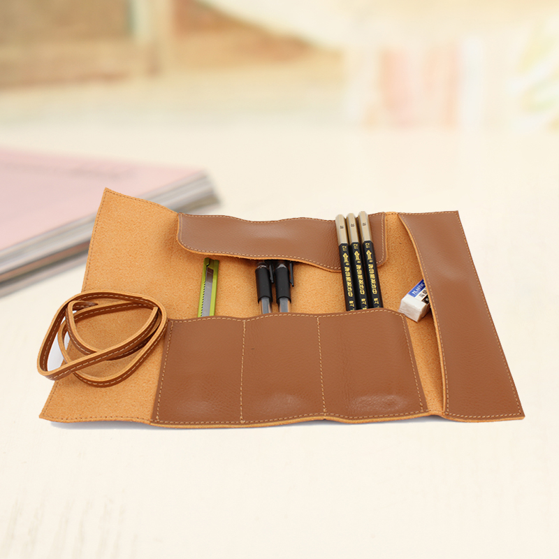 High-end Fiber Leather Roll Up Pen Pouch Pencil Case Large Capacity Pen Holder Organizer for Luxury Pens School Office Supplies big capacity high quality canvas shark double layers pen pencil holder makeup case bag for school student with combination coded lock