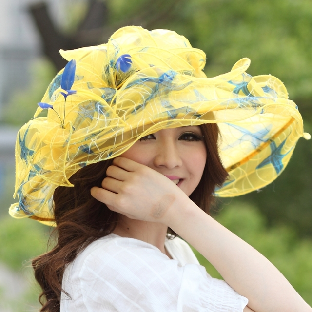 ab8d21e31a6 Ladies Organza Hat Derby Church Wedding Beach Cocktail Evening Party Summer Sun  Cap Vintage Dress Fedora Wide Brim Hat Cap