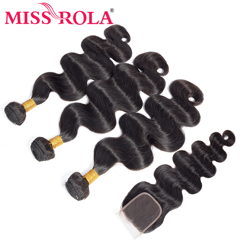 Miss Rola Hair Brazilian Hair Body Wave Bundles With Closure 100% Human Hair Remy 3 Bundles With 4*4 Closure Nature Color