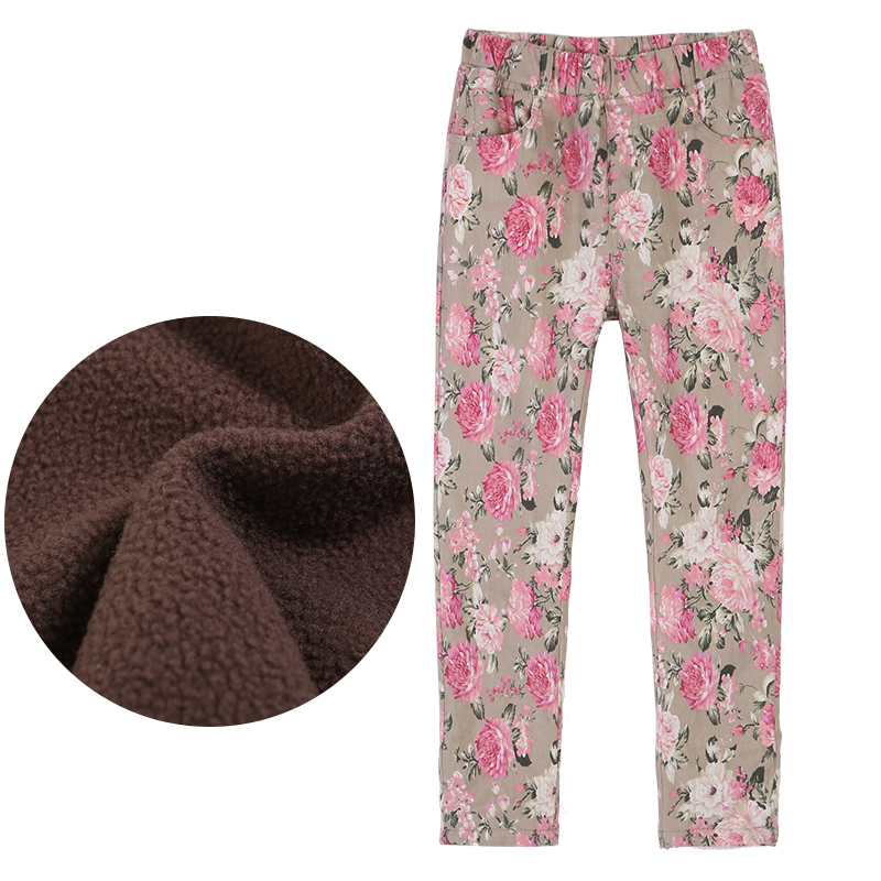 girls leggings Long Pants Autumn Winter Floral Teenage With Velvet Children's Casual Clothing Kids Clothes girl winter legging