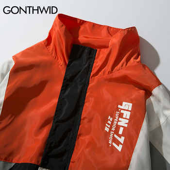 GONTHWID Vintage Color Block Jackets Men Printed Patchwork Windbreaker Jacket Coats 2019 Hip Hop Fashion Full Zip Streetwear