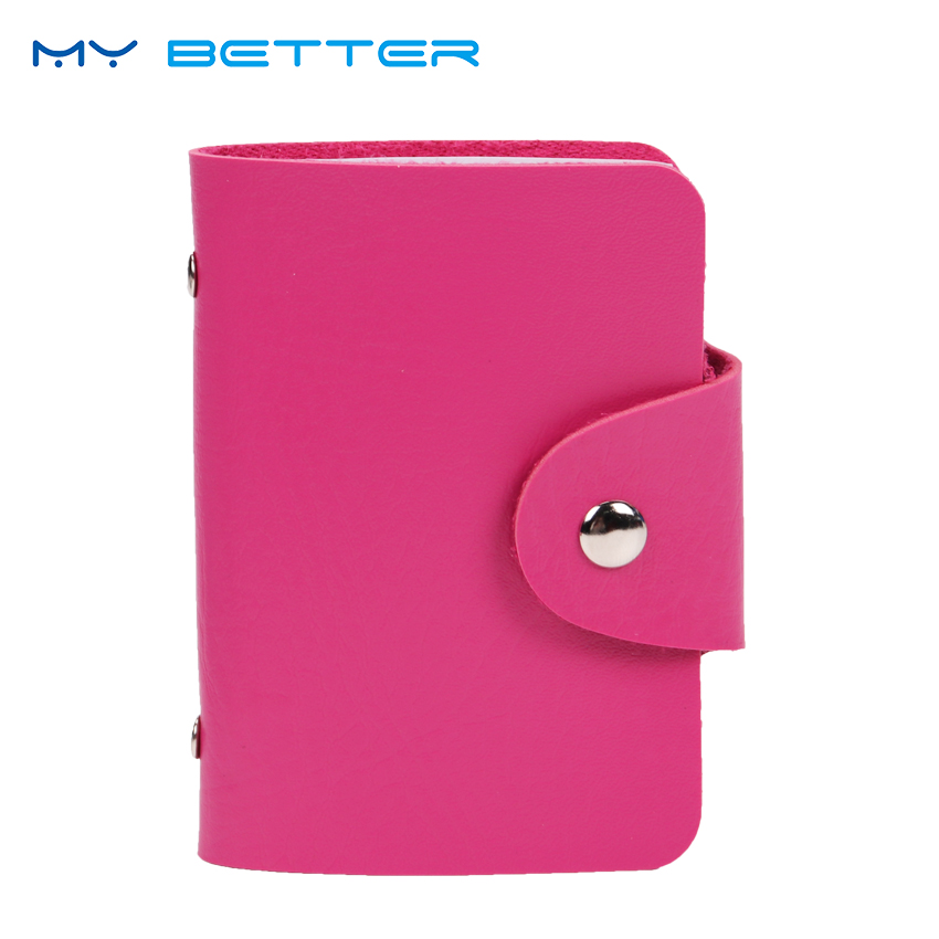 24 Card Slots Double Sided Plastic Card Holder Small Size Multicolor Business Pack Bus Card Bag Women Purses Men Wallet