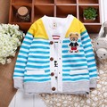 Fashion Style Bestselling Baby Kids Children Girls Boys Bear Strip Cotton Wool Cardigans Long Sleeve coat Sweaters V-Nec